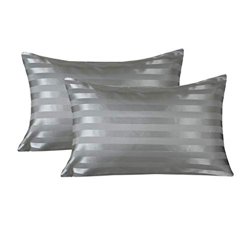 (LANNOMO Satin Pillowcase for Hair and Skin with Envelope Closure | a Set of 2 Pack | Cool Smooth and Soft | Standard/Queen Size 20x30 - Dark Gray Stripe)