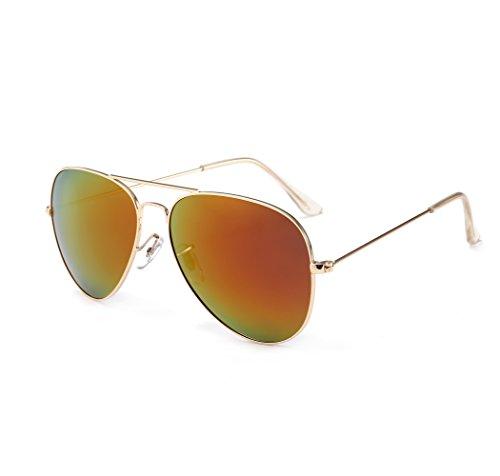 SUNGAIT Ultra Lightweight Polarized Aviator Sunglasses for Men Women UV400(Gold Frame/Red Mirror Lens, - Light Define Polarised