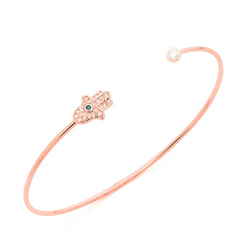 (Fatima Hand Open Bangle Bracelet,Fshion Accessories Brass Copper Casting Crystal Jewelry (rose gold))