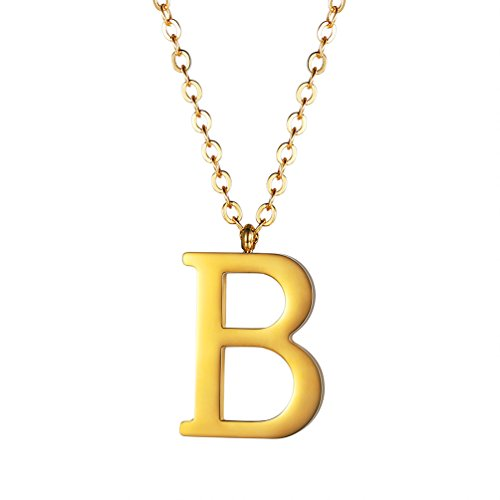 PROSTEEL Gold Initial Letter B Necklace Alphabet Name Jewelry for Boy Girl Personalized Groomsman Bridesmaid Birthday Gift Men Women 18K Plated Minimalist Letter Necklace