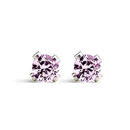 3mm Tiny Light Pink Tourmaline Gemstone Stud Earrings in Sterling Silver - October ()