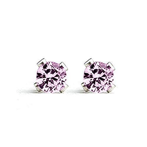 3mm Tiny Light Pink Tourmaline Gemstone Stud Earrings in Sterling Silver - October Birthstone