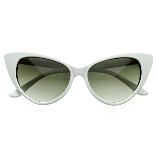 [zeroUV - Super Cateyes Vintage Inspired Fashion Mod Chic High Pointed Cat-Eye Sunglasses (White)] (Mod White Sunglasses)