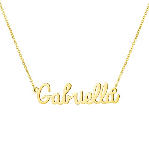 Necklace Belle Gold - Awegift Name Necklace Big Initial Gold Plated Best Friend Jewelry Women Gift for Her Gabriella