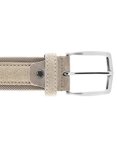 Cintura tela e camoscio uomo beige 4 cm in vera pelle artigianale made in Italy