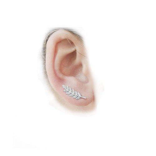 Ear Climbers/Ear Crawlers Earrings Cuff Climber Pins (Short Leaf (Wire Leaf Fashion Pin)