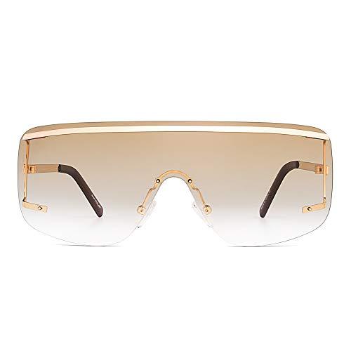 Oversized Shield Sunglasses Flat Top Gradient Lens Rimless Eyeglasses Women Men (Light Gold/Gradient Brown) - Gradient Shield Lens Sunglasses