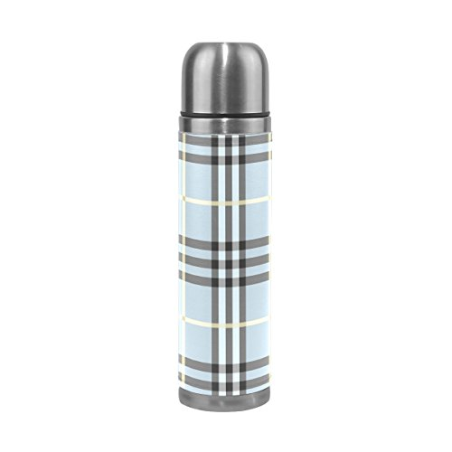 Retro Thermos (Blue Plaid Stainless Steel Insulated Vacuum Water Bottle by DEYYA, Double Wall Thermos Cup Leak Proof Double Vacuum Bottle PU Leather Travel Thermal Mug,17 oz)