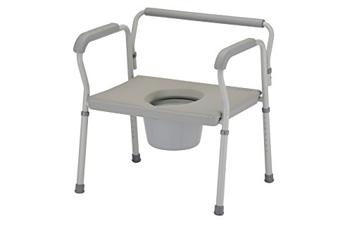 Extra Wide Seat - NOVA Medical Products Heavy Duty Commode with Extra Wide Seat, Gray, 19.5 Pound