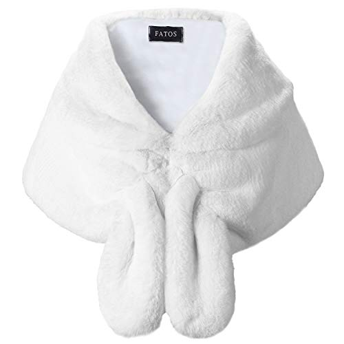 Shawls and Wraps, Women's Wedding Faux Fur Shawl Wrap Stole Shrug Winter Cover Up for Evening/Party/Show (L, White)