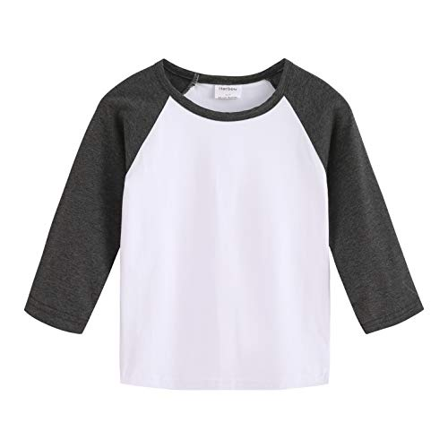 (Herbow Toddler Baby Boys Girls Long Sleeve Shirts Raglan Shirt Baseball Tees Cotton T-Shirts White-Navy)