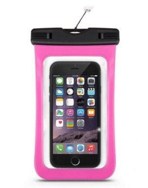 Da.Wa Funda Móvil Impermeable Universal Bolsa Sumergible Móvil Transparente Sensible al Tacto para No Más de 6 Pulgadas Teléfono Móvil(Rosa)