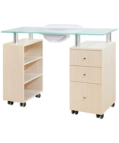 J&A Glass Top Manicure Table w/Draft Vent - Maple