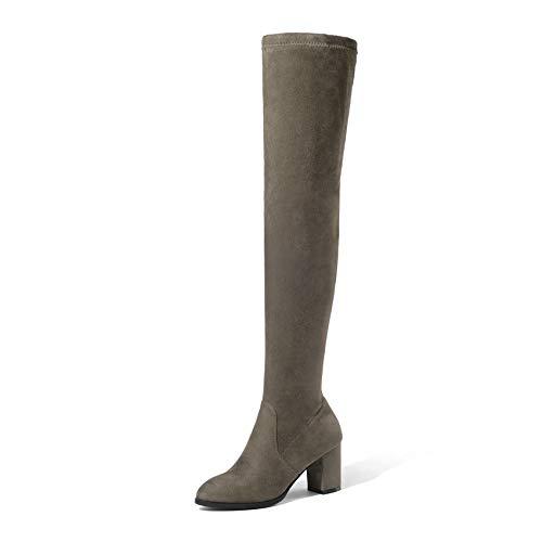 HAOLIEQUAN Les Femmes De Plus Bottes Chaussures Femmes Talon Les Haut Carré d'hiver De La Plate-Forme Toutes Les Talon Femmes Match Taille Bottes 34-43 34|Le kaki 7b2773