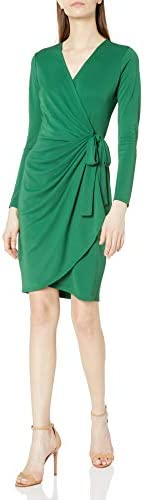 Lark & Ro womens Classic Long Sleeve Wrap Dress D