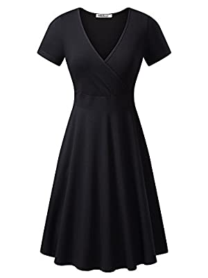 MSBASIC Women's Deep V Neck Short Sleeve Unique Cross Wrap Casual Flared Midi Dress