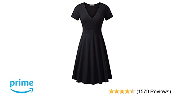 56586a98f58 MSBASIC Women's Deep V Neck Short Sleeve Unique Cross Wrap Casual Flared  Midi Dress