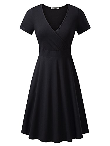 MSBASIC Women's Deep V Neck Short Sleeve Unique Cross Wrap Casual Flared Midi Dress, Small, Black (Short Wrap Sleeve Petite)