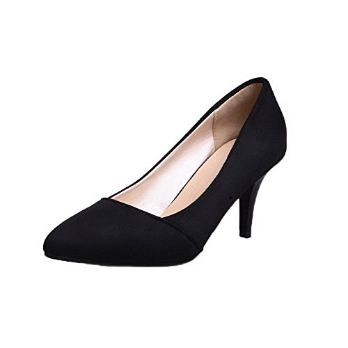 Allhqfashion Dame Kitten-hæler Pull-på Mattslipt Faste Lukket Tå Pumper-sko Sorte