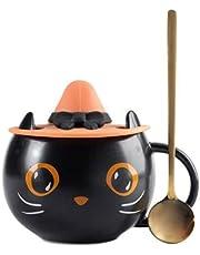 Delisouls Leuke keramische kat koffiemok, schattige kat keramische mok en lepel set, met heksendop schattige kitty unieke keramische koffiemok geschenken voor kattenliefhebbers