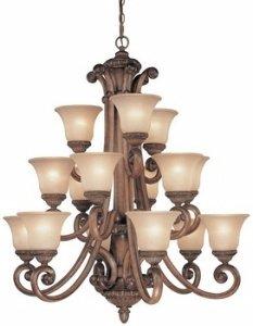 Dolan Designs 2403-54 15 Light 3 Tier Chandelier, Bronze/Dark