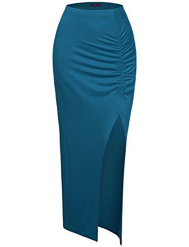 Doublju Women Easy to Wear Colorful Maxi Skirt TEAL,L - Bras N Skirt