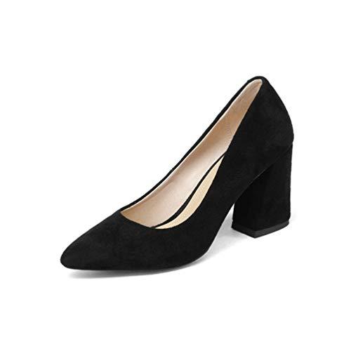 carré et Pointue Haut Profondes Femmes de Les élégants Bande de Orteil de Dames Noir Talon Chaussures Pompes Printemps d'automne Style Peu Doux gwqXf