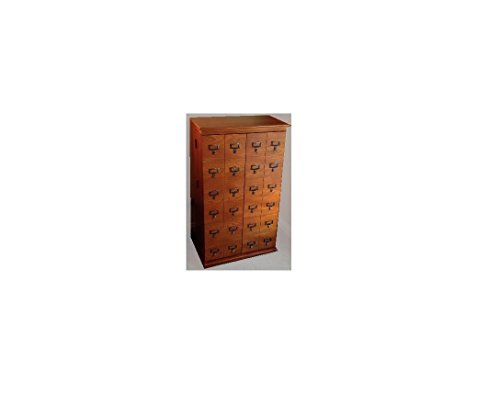 Leslie Dame CD-612LW Solid Oak Mission Style Multimedia Storage Cabinet with Library Card Catalog Style Doors, Walnut