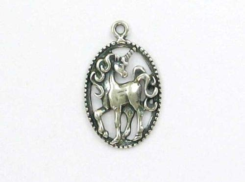 Sterling Silver Unicorn Oval Medallion Charm - Jewelry Accessories Key Chain Bracelet Necklace Pendants