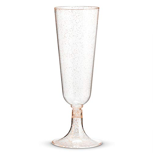 50 Plastic Rose Gold Glittered Champagne Flutes | 5.5 oz. Clear Hard Disposable Party & Wedding Cups | Premium Heavy Duty Fancy Toasting Glasses (50-Pack) Rose Gold Glitter by Bloomingoods