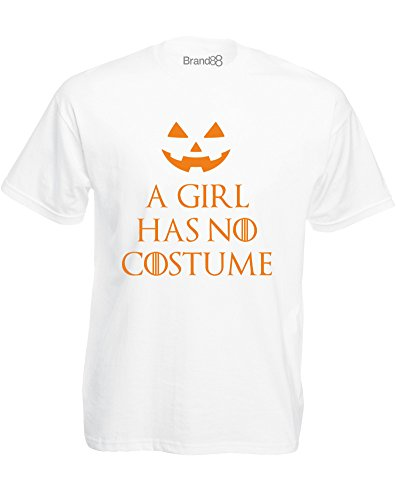 A Girl Has No Costume, Mens Printed T-Shirt - White/Orange L