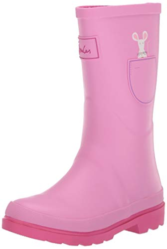 Joules Girls' JNR Welly Print Rain Boot Pink Pocket Cat 10 M US Little ()