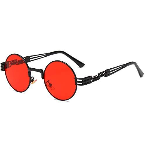 Dollger John Lennon Sunglasses Steampunk Glasses Metal Round Frame Mirror Lens - Red Mirror Lens/Black Frame