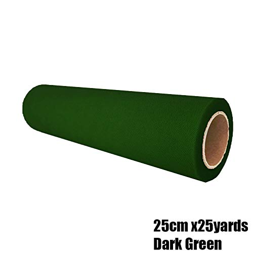 25Cm 25Y Tulle Mesh Roll Wedding Party Organza Fabric Table Runner Chair Sash DIY Aisle Runner Stairs Decoration Party Supplies,25Cm Dark Green