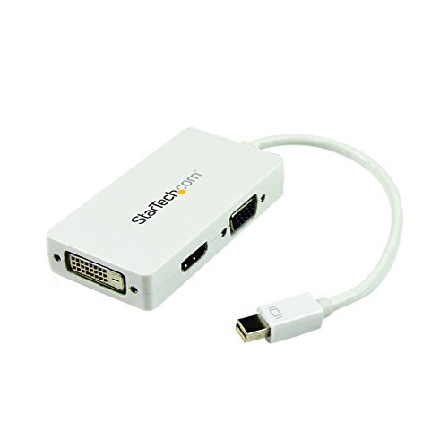 StarTech.com Travel A/V Adapter: 3-in-1 Mini DisplayPort to VGA DVI or HDMI Converter - White (MDP2VGDVHDW)
