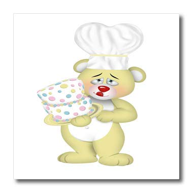 3dRose Anne Marie Baugh - Illustrations - Cute Yellow Baker Bear with A Cake Illustration - 10x10 Iron on Heat Transfer for White Material (ht_317967_3)