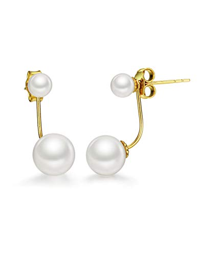 18K Gold Freshwater Pearl Earring Set 2 in 1 Stud and Drop Earrings Fine Jewelry for Women