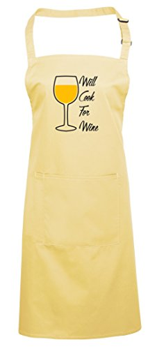 For Wine, Printed Apron - Lemon/Black