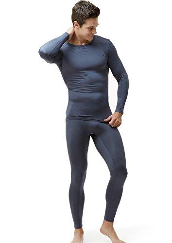 TSLA Men's Thermal Underwear Set, Microfiber Soft Fleece Lined Long Johns, Winter Warm Base Layer Top & Bottom, Thermal Fleece(mhs100) - Dark Grey, Medium