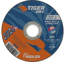 58000 Straight Wheel Type 1 WEILER Tiger Zirconia Alumina Cutting Wheel 60 GRIT 4 1//2 in Diameter 7//8 in Center Hole -.045 in Thick
