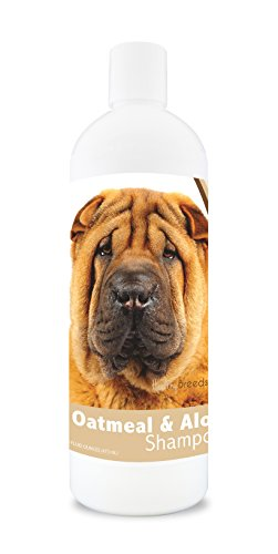 Healthy Breeds Dog Oatmeal Shampoo with Aloe for Chinese Shar Pei - Over 75 Breeds - 16 oz - Mild and Gentle for Itchy, Scaling, Sensitive Skin - Hypoallergenic Formula and pH Balanced (Best Dry Food For Shar Pei Puppy)