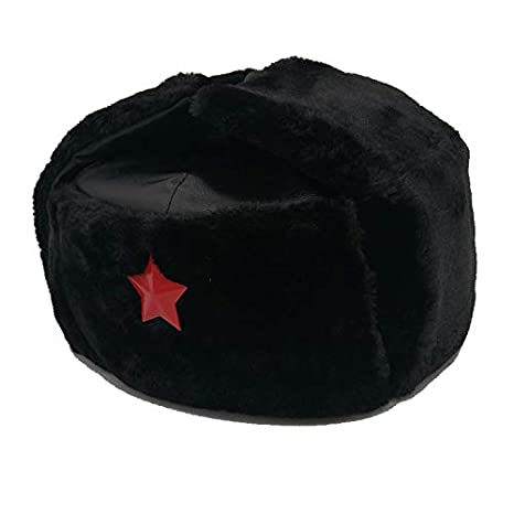 76511317f20 Amazon.com  Blue Stones Russian Hat Ushanka Black Bomber Hat Army ...