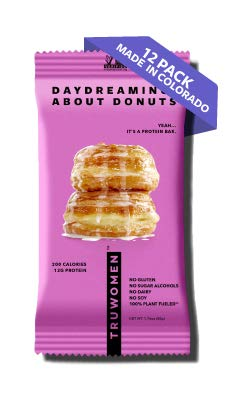 TRUWOMEN Plant Fueled Protein Bars, Daydreaming About Donuts (12 Count) | Non-GMO, Vegan, Gluten Free, Kosher, Soy Free, Dairy Free, No Sugar Alcohols, Low Sodium, Natural Ingredients | 12g Protein