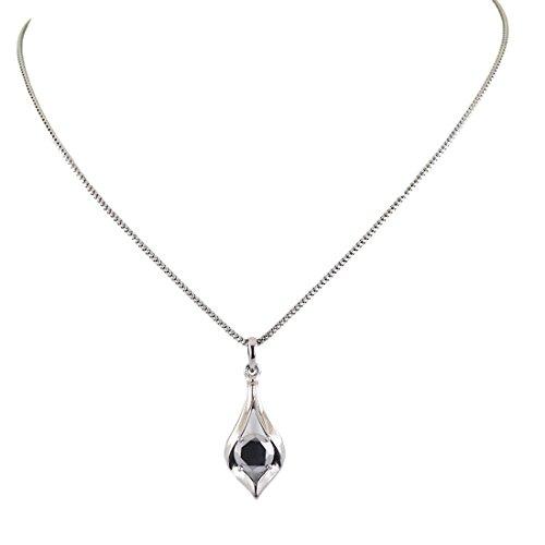 skyjewels 2.5 Carat Certified Black Diamond in 18 K White Gold, Bezel Set Pendant Necklace ()