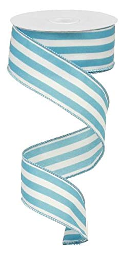 Aquamarine Ribbon - Vertical Stripe Wired Edge Ribbon - 10 Yards (Turquoise, 1.5