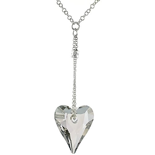 Sterling Silver Clear Swarovski Crystal Heart Dangle Pendant 16 in. Rolo Chain Link Necklace ()