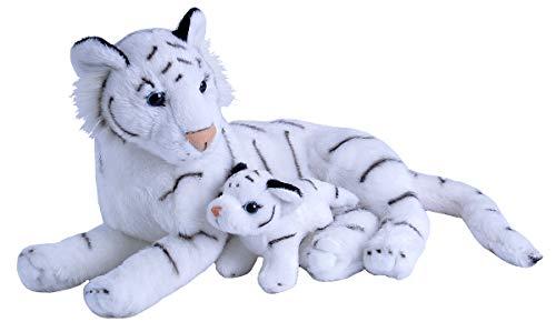Wild Republic Mom & Baby White Tiger Plush, Stuffed Animal, Plush Toy, Gifts for Kids, Zoo Animals, - Baby White Tiger
