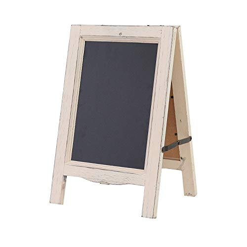 - Liry Products 15 inch Wooden Chalkboard Vintage Small Rustic White Washed Finish A-Frame Sandwich Sign Dual Double-Sided Blackboard Easel Scalloped Bottom for Indoor, Restaurant, Sidewalk, Cafe, Bar