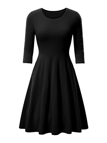 3/4 sleeve black dress casual - 8