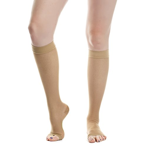 EvoNation Women's USA Made Open Toe Sheer Graduated Compression Socks 20-30 mmHg Firm Pressure Medical Quality Ladies Knee High Toeless Support Stockings Circulation Hose (Small, Tan Nude Beige) Photo #2